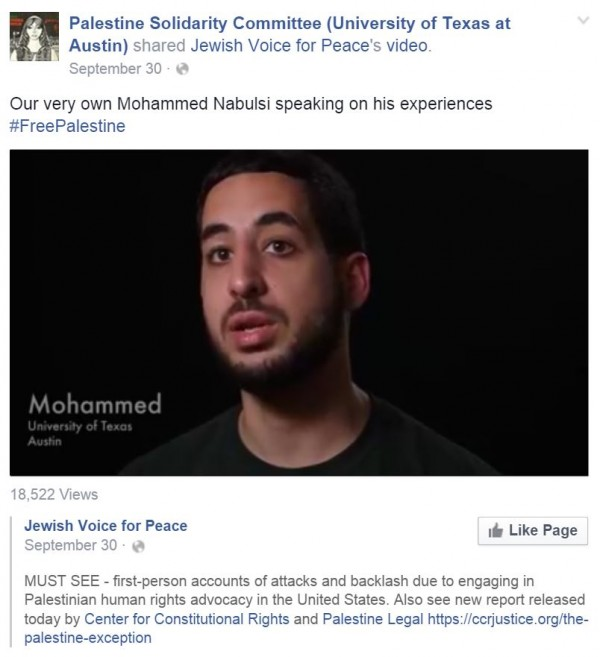 Mohammed Nabulsi Video Palestine Legal Exception Facebook PSC