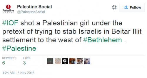 Palestine Social Twitter Arab Woman Shot Pretext Stabbing