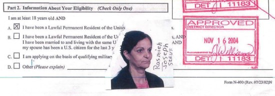 Rasmieh Odeh Case - Naturalization Application - Trial Exh 1A - Photo