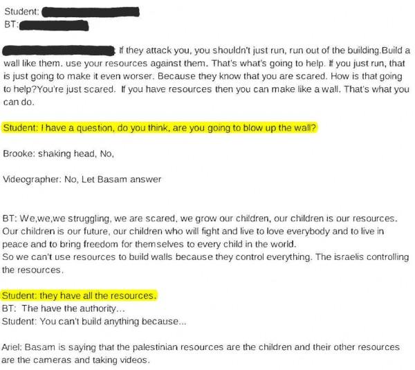 Transcript Bassem Tamimi at Third Grade 3 highlighted