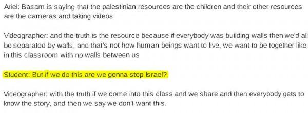 Transcript Bassem Tamimi at Third Grade 4 highlighted