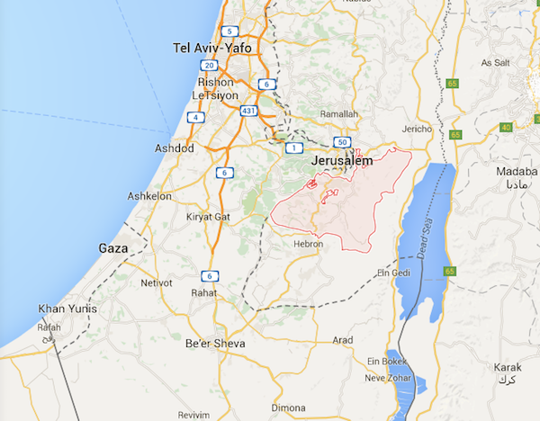 gaza and west bank map plus tel aviv
