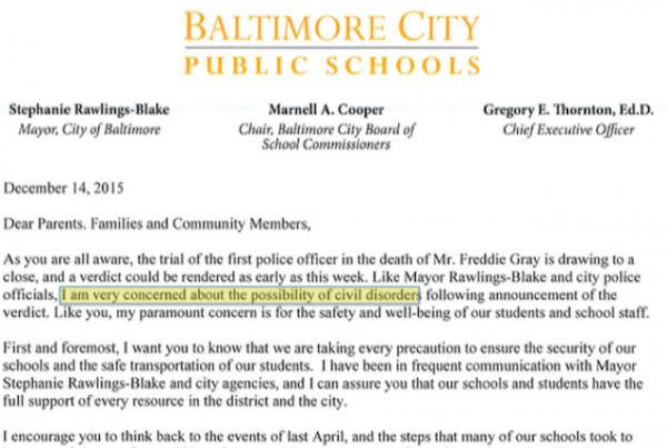 Baltimore school letter 12-14-15