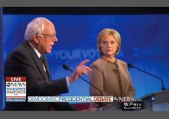 Democratic Debate Sanders Clinton w border