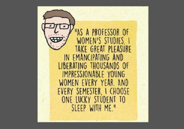 Male Feminist Graphic Professor Women's Studies w border