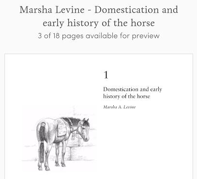 Marsha Levine - Domestication and early history of horses