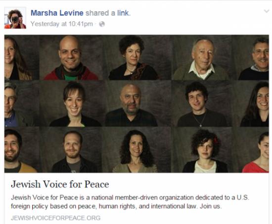 Marsha Levine Facebook Jewish Voice for Peace Share