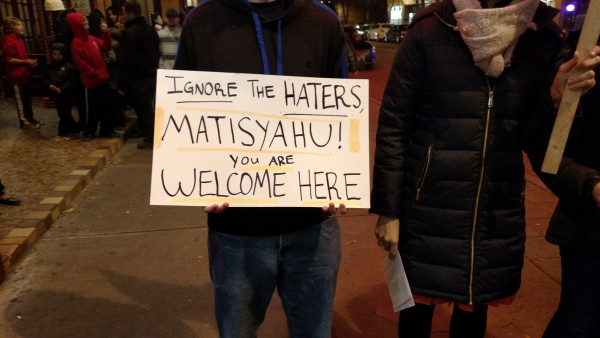 Matisyahu Ithaca Supporters With Signs You Are Welcome Here