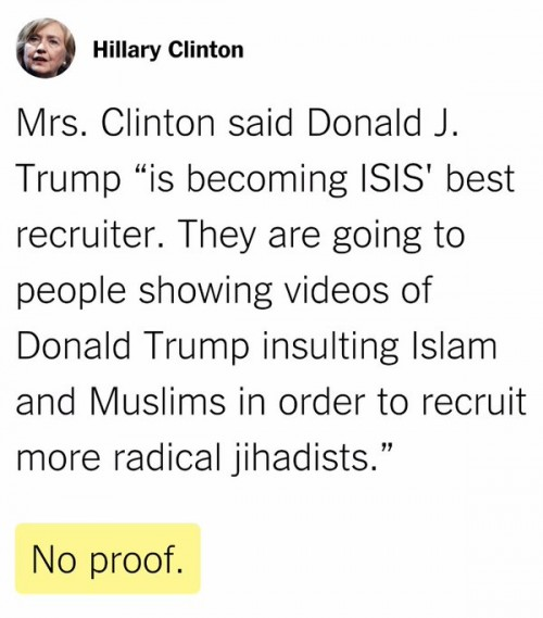 NY Times Fact Check Hilary and Trump ISIS Debate