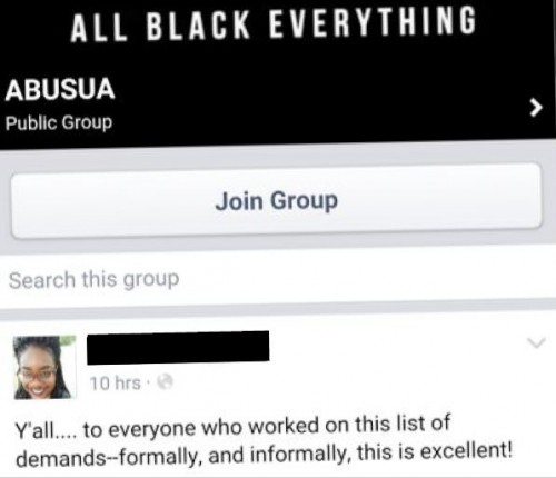 Oberlin Black Students Union Demand Facebook Group Post redacted