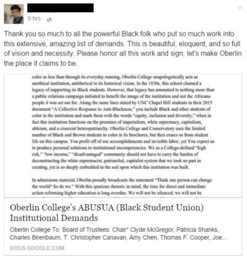 Oberlin Black Students Union Demand List FB Post 2 Redacted