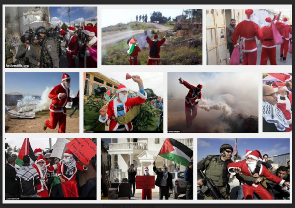 Photo Montage Santas Palestine Protests w border