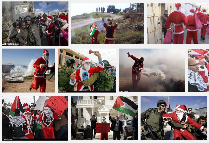 Photo Montage Santas Palestine Protests