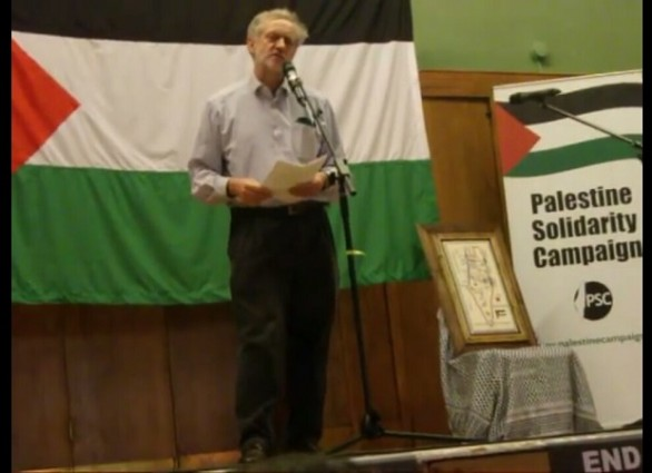 UK's Labour Party leader Jeremy Corbyn at Palestinian Solidarity Campaign's event