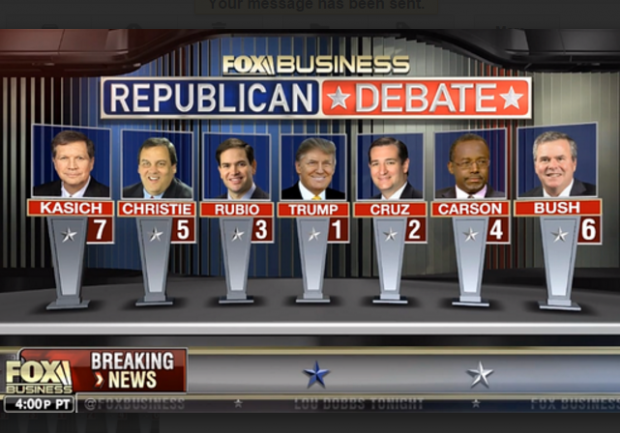 Fox Business Republican Debate January 2016 Line up of candidates