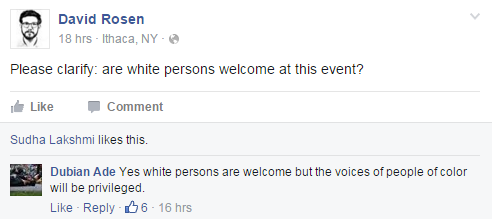 Ithaca Protest Sandra Bland FB Page comment white people welcome