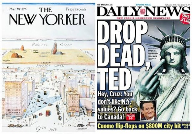 New Yorker NY Daily News side by side Cruz