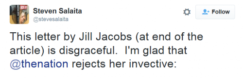 Salaita tweet to Jacobs