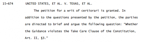 Texas Immigration Case Supreme Court Order granting Cert.