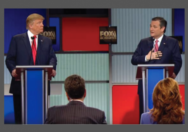 Trump Cruz Debate 1-14-2016 Stage w border