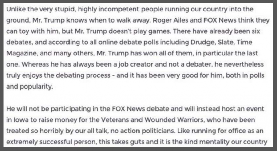 Trump Statement Fox News Debate