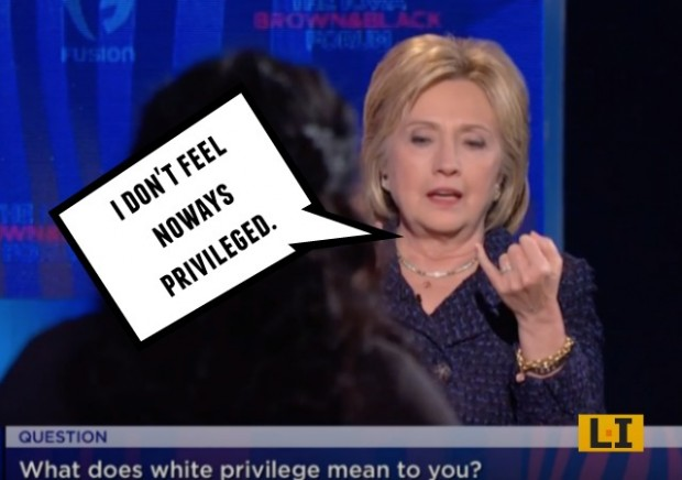 hillary clinton white privilege fusion racist equality scandal democrat president campaign fib investigation