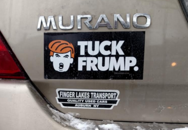 Bumper Sticker - Ithaca - Tuck Frump close up