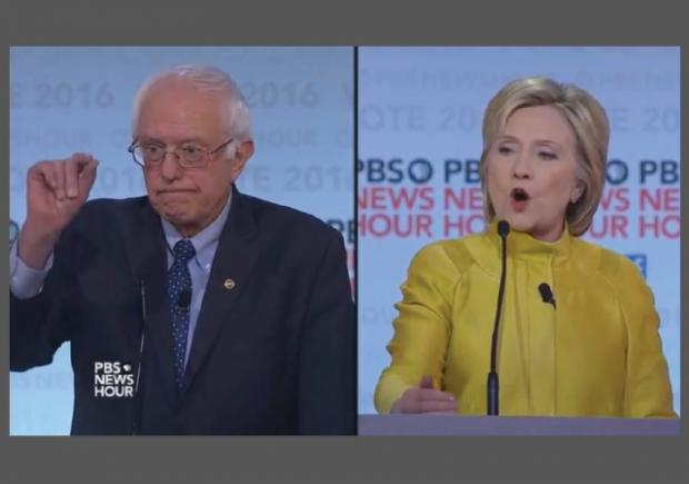 Democratic Debate 2-11-2016 Bernie Hillary Strange Faces