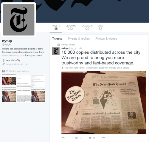 Fake NY Times Twitter banner