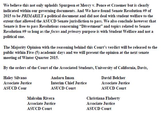 UC Davis - Mitchell v Senate Divestment Verdict page 2