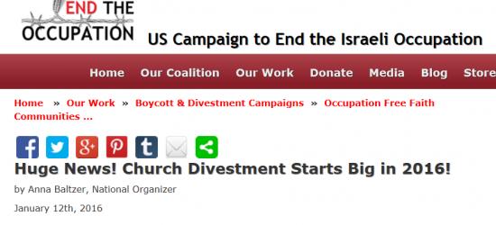UCEIO, Huge News on church divestment