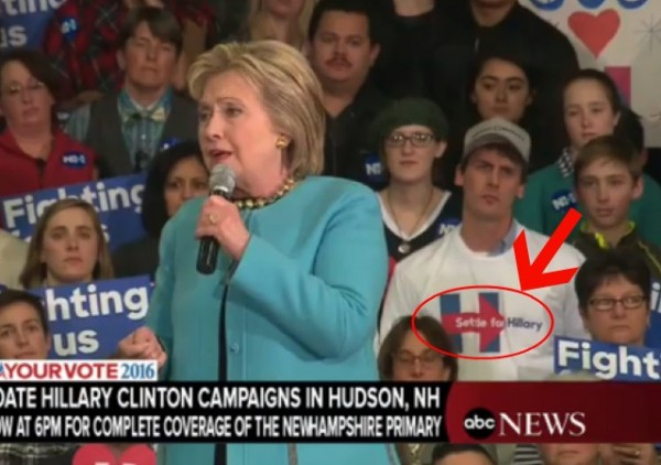 settle for hillary clinton troll town hall event hudson new hampshire guy wearing shirt