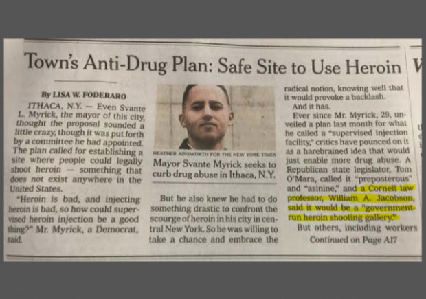 NY Times Ithaca Heroin Front Page clip w border