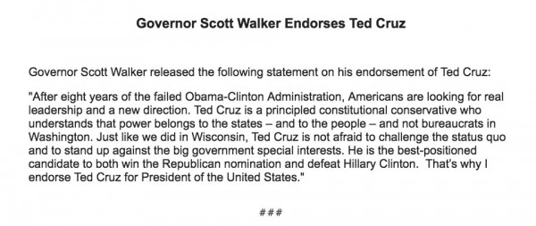 Scott Walker Statement Endorsing Ted Cruz