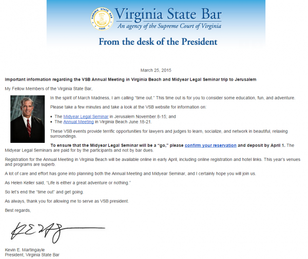 Virginia State Bar Email March 25 2015