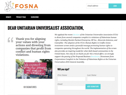 FOSNA thanks UUA divestment