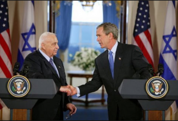 President George W. Bush and PM Ariel Sharon, Cross Hall, White House press conference, April 14, 2004   credit: White House archives