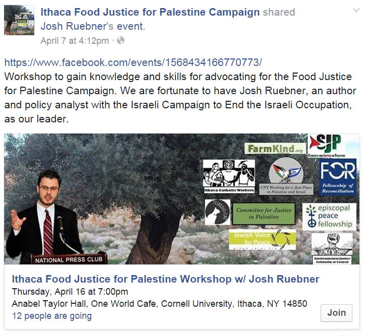 Ithaca Food Justice Josh Ruebner Event FB