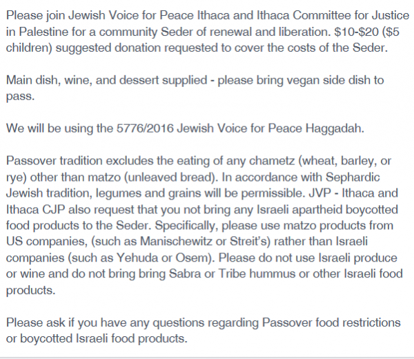 Ithaca JVP, Facebook Passover seder boycott products