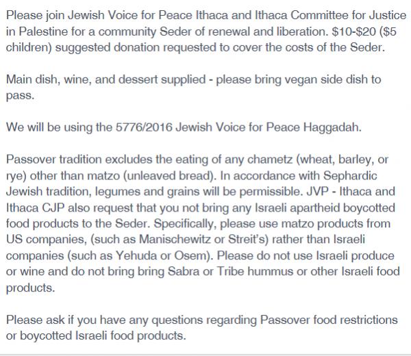 Ithaca JVP, Facebook Passover seder boycott products