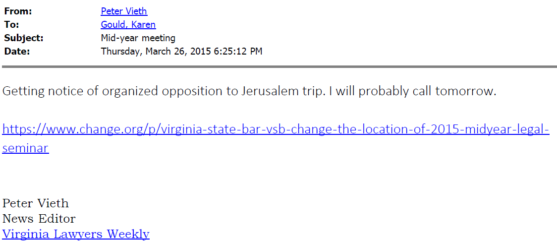 VSB Email 3-26-2015 625 Vieth Lawyers Weekly Getting Notice of Organized Opposition