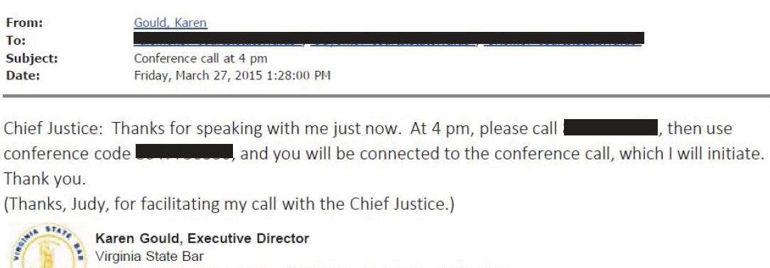 VSB Email 3-27-2015 128 Chief Justice Set Up Conf Call - redacted