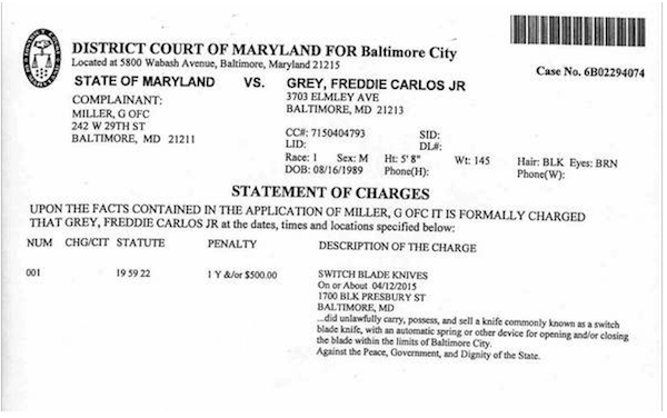 Charges against Freddie Gray