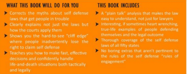 Law of Self Defense back cover bullet points