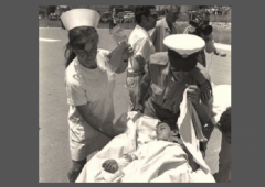 Moshav Avivim Shimon Biton Carried on Stretcher Nurse w border