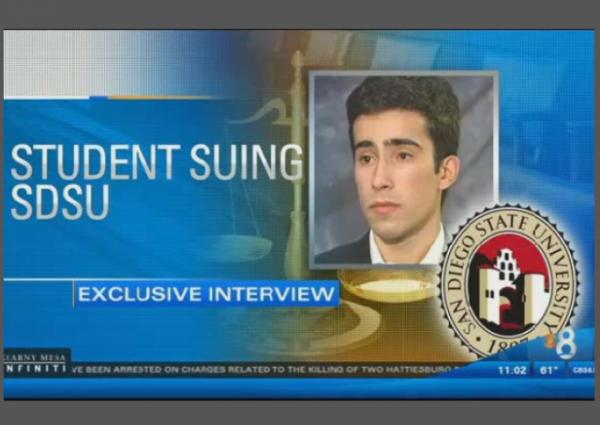 SDSU Student Francisco Sousa Suing CBS8 w border