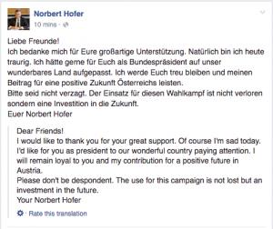 Hofer Admist Defeat in Austria