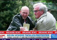 Kevin Vickers Tackles Protester