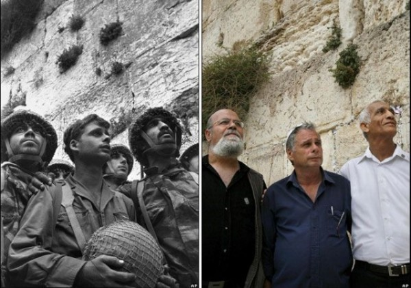 Soldiers at Western Wall Then and Now