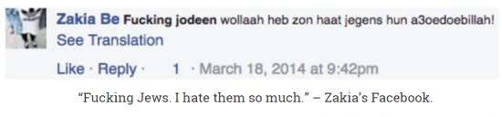 Zakia Belkhiri Facebook hate Jews so much